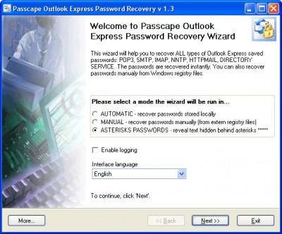 Passcape Outlook Express Password 1.11.0 screenshot