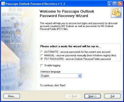 Passcape Outlook Password Recovery 1.2 screenshot