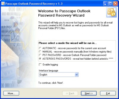 Passcape Outlook Password Recovery 3.0.0 screenshot