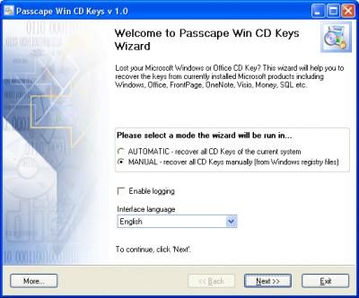 Passcape Win CD Keys 2.8.3 screenshot