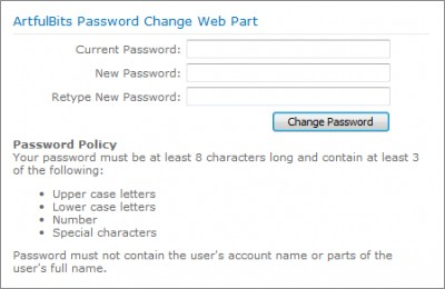 Password Change Web Part 1.11 screenshot