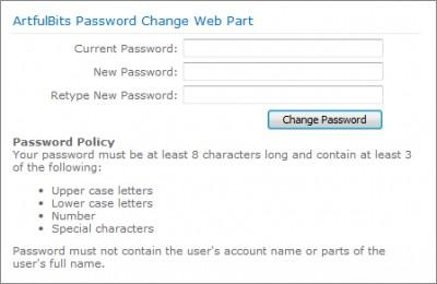 Password Change Web Part 1.11 screenshot