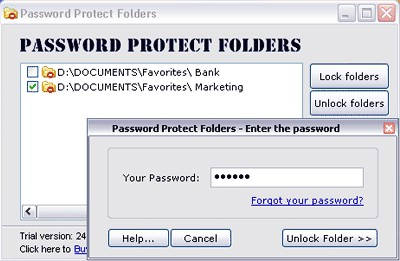 Password Protect Folders 1.0 screenshot