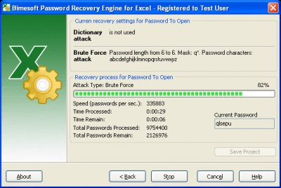 Password Recovery Engine for Excel 2.2 screenshot