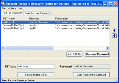 Password Recovery Engine for Outlook 1.4 screenshot