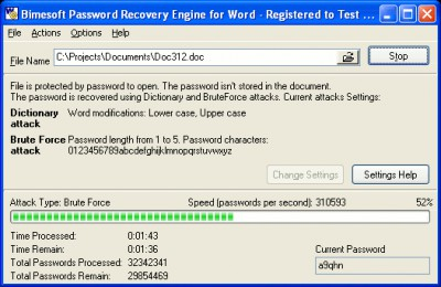 Password Recovery Engine for Word 1.1 screenshot