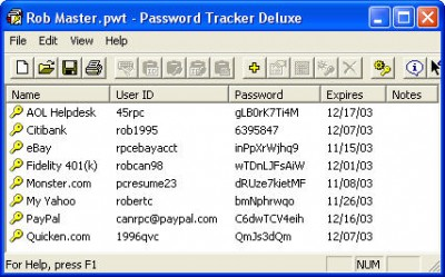 Password Tracker Deluxe 3.64 screenshot