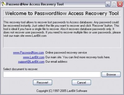 PasswordNow Access Recovery Tool 3.0 screenshot