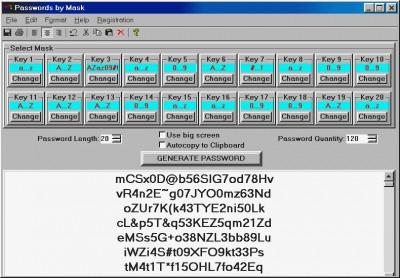Passwords by Mask 1.99 screenshot