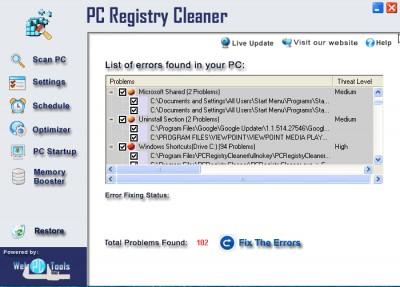PC Registry Cleaner 3.0 screenshot