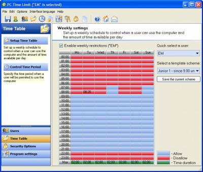 PC TIME LIMIT PRO 6.1.4.21 screenshot