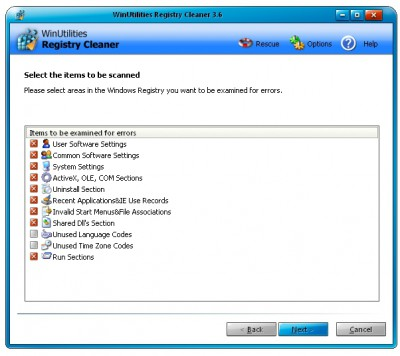 PCCLEAN Registry Cleaner 3.47 screenshot