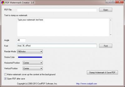 PDF Watermark Creator 1.6 screenshot