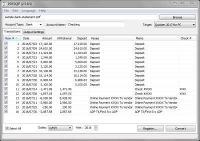 PDF2QIF 2.4.6.0 screenshot