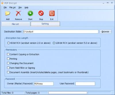PDFArea PDF Encrypt 6.4 screenshot