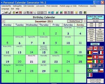 Personal Calendar Generator 6.2.1 screenshot