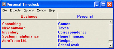 Personal Timeclock 4.8 screenshot
