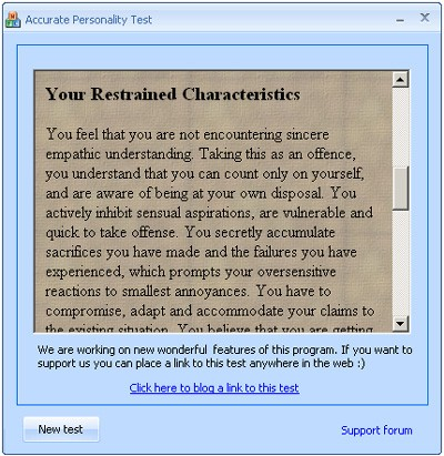Personality type test 1.0 screenshot