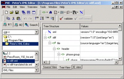 Peter's XML editor 2.0 screenshot