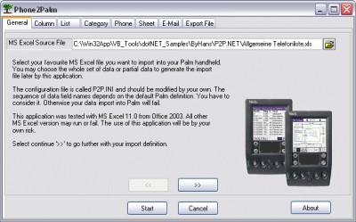 Phone to Palm 1.2 screenshot