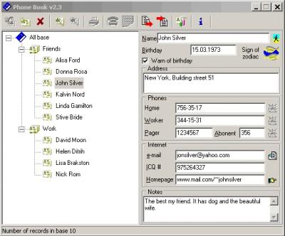 PhoneBook 2.3 screenshot