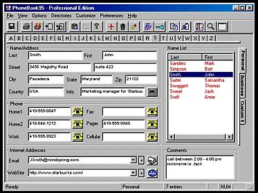 PhoneBook95 Professional Edition 3.02 screenshot