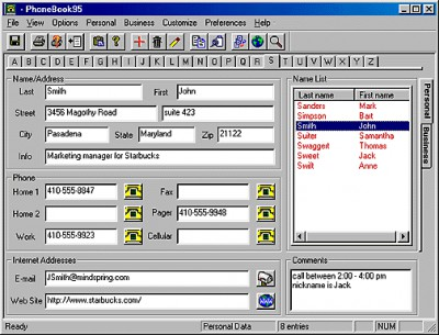 PhoneBook95 Standard Edition 2.71 screenshot