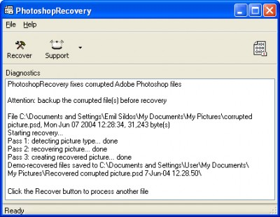 PhotoshopRecovery 1.0.0733 screenshot