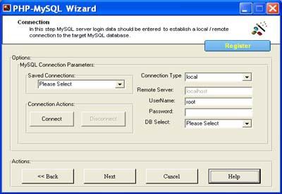 PHP Code Generator for MySQL 1.5 screenshot