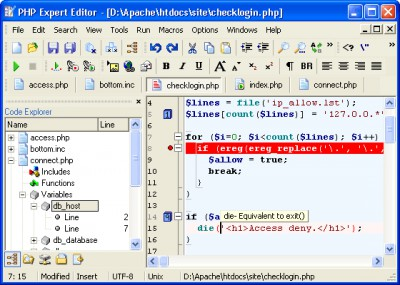 PHP Expert Editor 4.3 screenshot