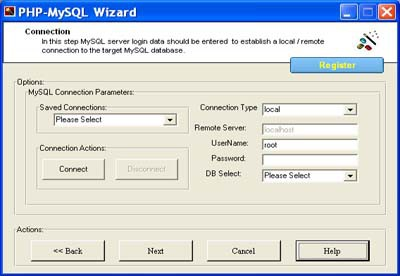 PHP MySQL Wizard ( php Code Generator for Mysql) 1.3 screenshot