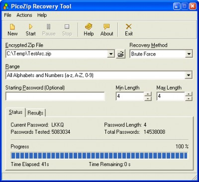 PicoZip Recovery Tool 1.0 screenshot