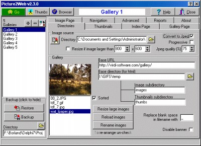 Picture2Web 2.3.1 screenshot