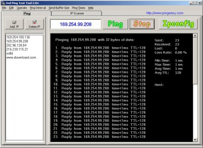 Ping Test Easy Freeware 2.04 screenshot