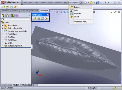 PIX Import for SolidWorks 1.0 screenshot