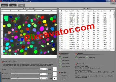 Pixcavator Image Analysis Software 2.3 screenshot