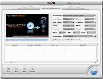 Plato DVD to MP3 Ripper 12.08.01 screenshot