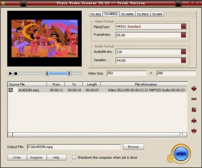 Plato MOV Creator 3.16 screenshot