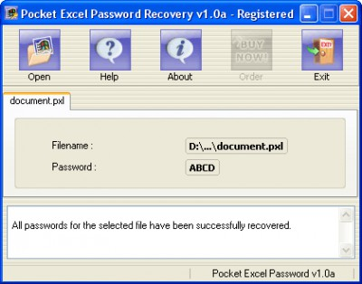 Pocket Excel Password Recovery 1.0a screenshot
