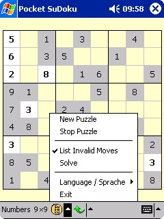Pocket SuDoku / SuDoku CE 2.7 screenshot