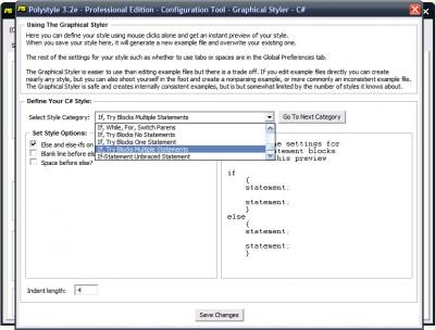 Polystyle Source Code Beautifier 3.2v screenshot