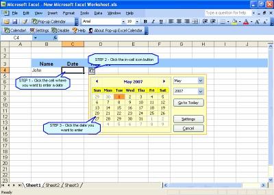 Pop-up Excel Calendar 1.77 screenshot