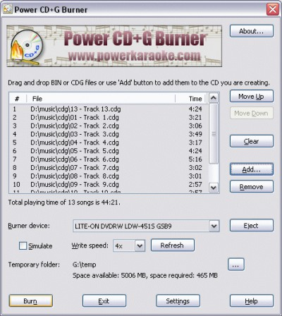 Power CD+G Burner 1.5.1 screenshot