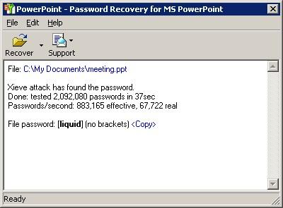 Powerpoint Password Recovery Key 7.1 screenshot