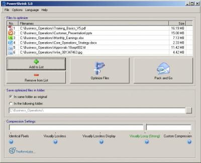PowerShrink 5.0 screenshot