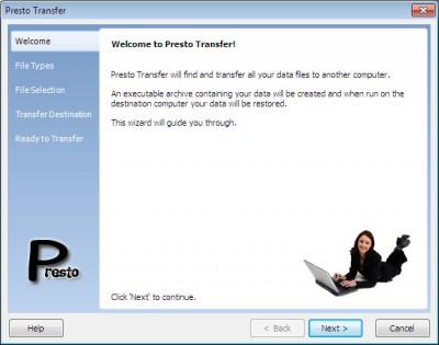 Presto Transfer Outlook 3.42 screenshot