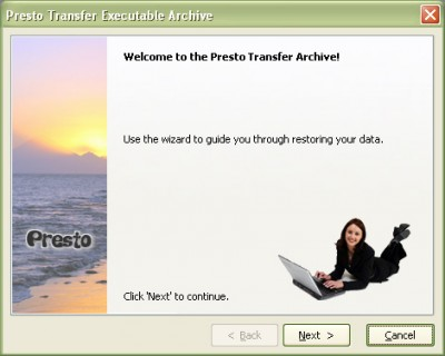 Presto Windows Mail Transfer 1.3 screenshot