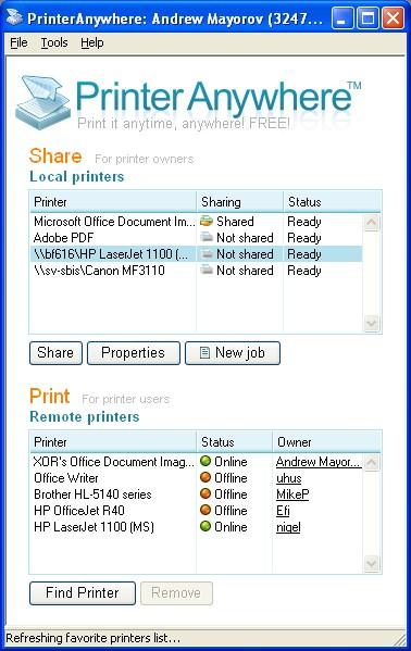 Printer Anywhere 1.3.5 screenshot