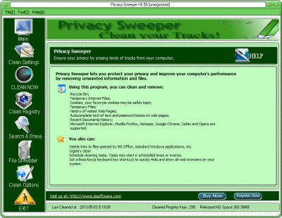 Privacy Sweeper 6.50 screenshot
