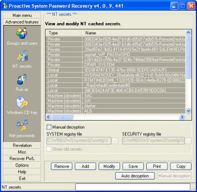 Proactive System Password Recovery 4.1 screenshot